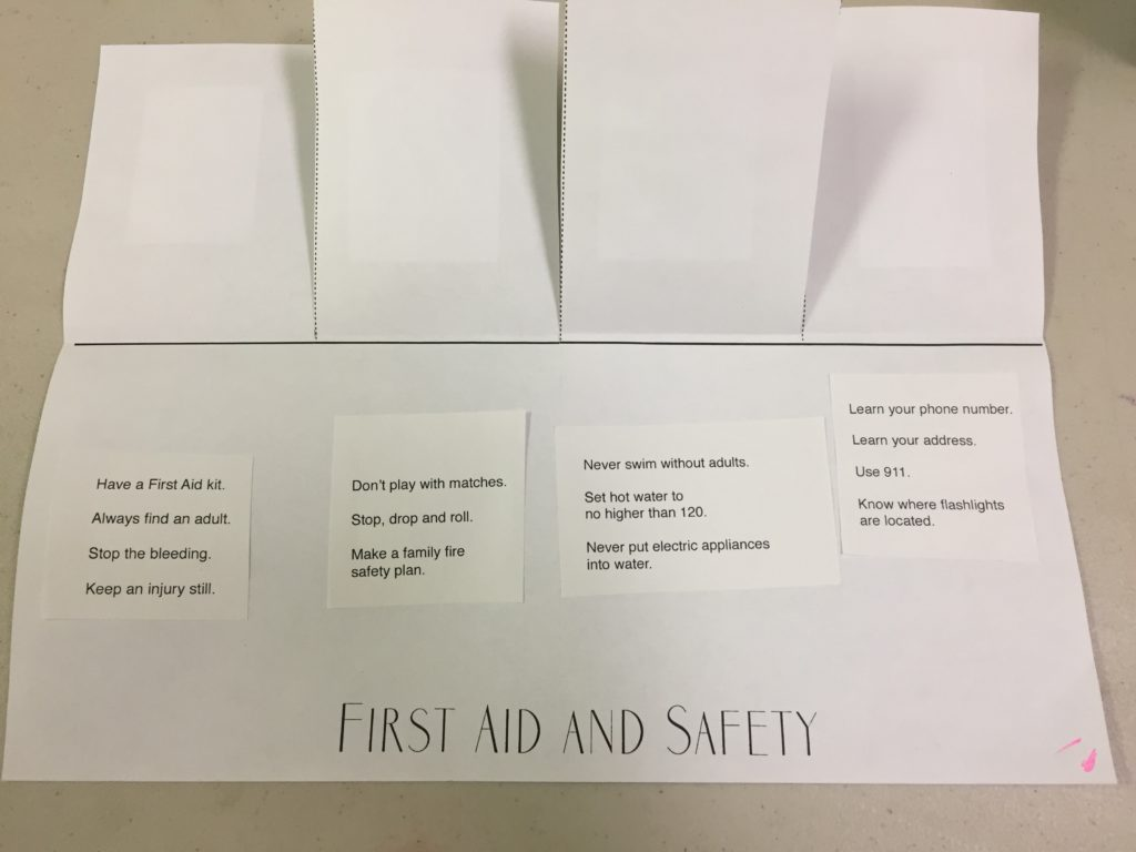 first aid and safety printable with sentences