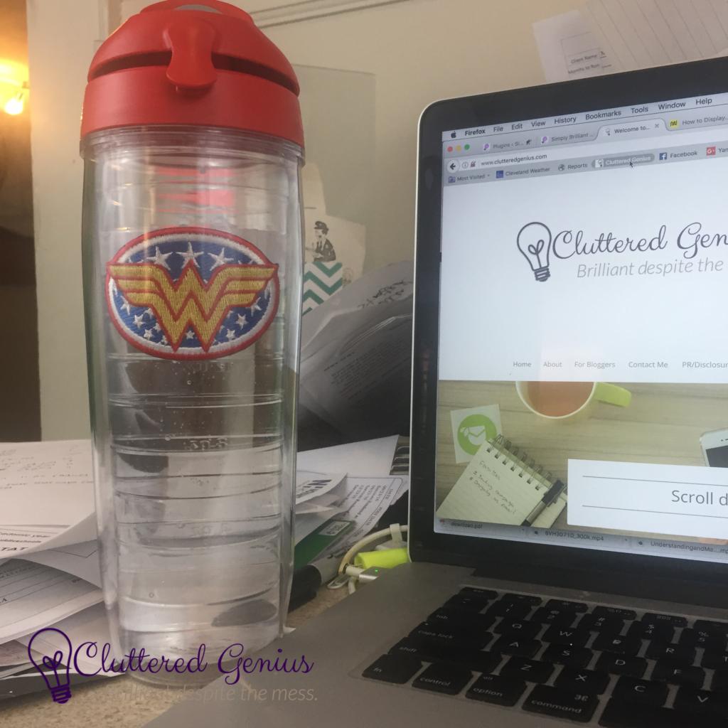 tervis water bottle on desk