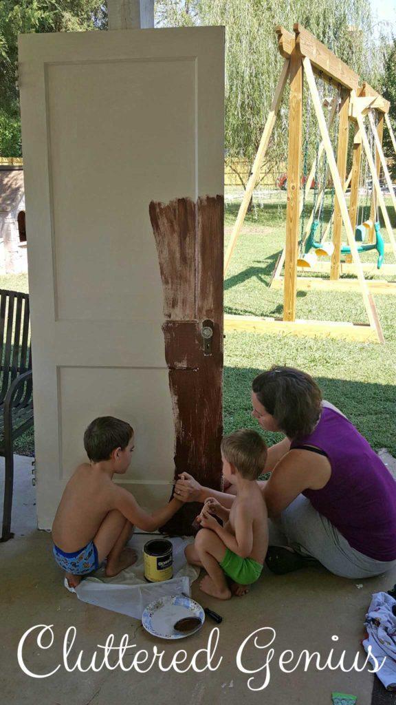 harvest door with boys