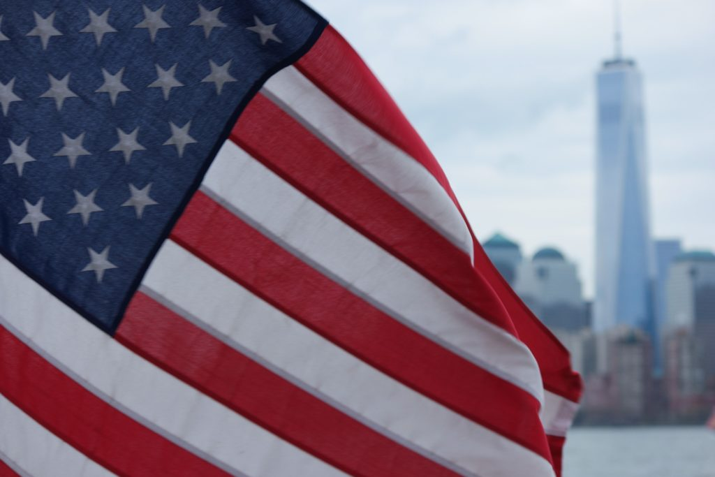 american flag with WTC